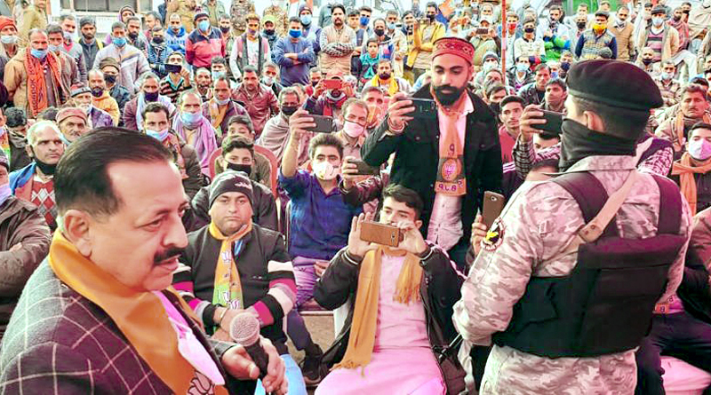 Union Minister Dr Jitendra Singh during DDC election campaign in Pancheri in Udhampur on Sunday.