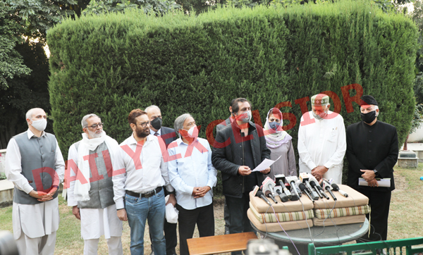 PAGD leaders at a press conference in Jammu on Saturday. —Excelsior/Rakesh