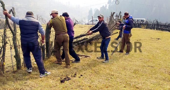 Encroached land being retrieved in Pahalgam on Tuesday. -Excelsior/Sajad Dar