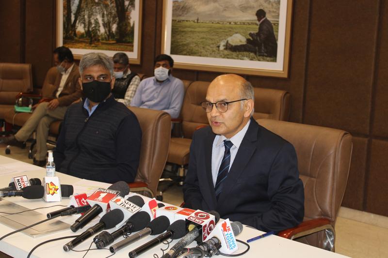 SEC K K Sharma addressing a press conference in Jammu on Saturday. -Excelsior/Rakesh