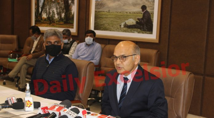 SEC K K Sharma addressing a press conference in Jammu on Saturday. -Excelsior/Rakesh