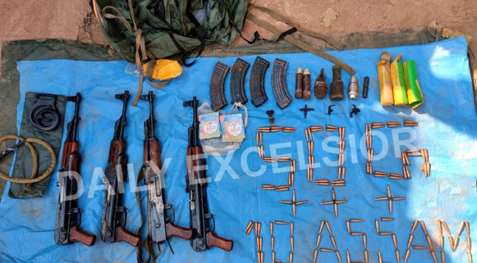 Arms and ammunition recovered in Kirni, Poonch on Monday. -Excelsior/Gurjeetbhajan