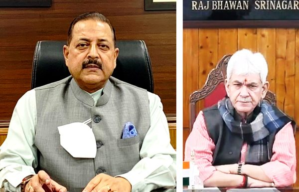 Union Minister Dr Jitendra Singh and Lt Governor Manoj Sinha laying e-foundation of Mansar Rejuvenation Project on Sunday.