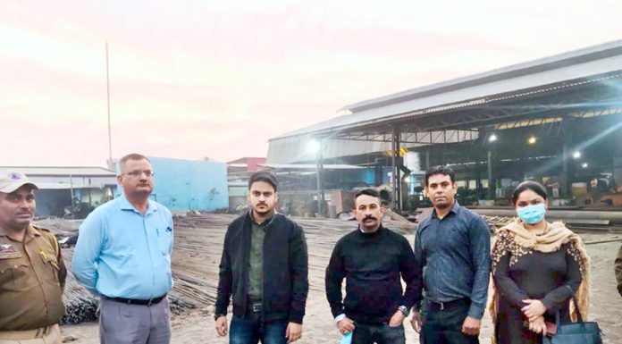 Enforcement Directorate sleuths outside Jhelum Industries before the searches on Tuesday.
