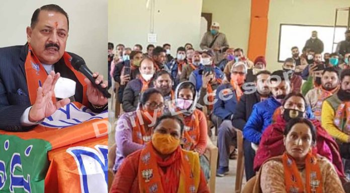 Union Minister, Dr Jitendra Singh addressing BJP workers' meeting at Kishtwar on Saturday. —Excelsior/Tilak Raj