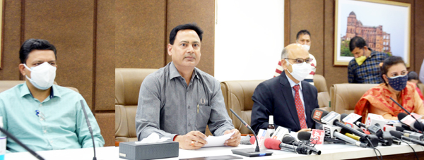 SEC K K Sharma and CEO Hirdesh Kumar at a press conference in Jammu on Wednesday.