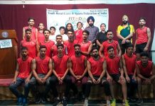 Winners of Youth Rural Games and Sports posing for a group photograph along with dignitaries on Wednesday.