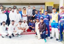 Dignitaries and winning team posing for a group photograph at GGM Science College Ground Jammu.