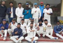 Players of Media-XI posing for a group photograph with dignitaries Mohit Puri, Sham Singh Langeh and others at GGM Science College Hostel Ground Jammu on Sunday.