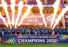 Mumbai Indians celebrates victory by holding wining trophy of the Dream 11 Indian Premium League (IPL) 2020 on Tuesday at Dubai.