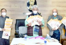 "Lt Governor releasing Panchayat Newsletter ""Parivartan"" in Jammu on Saturday."