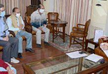 Lt Governor Manoj Sinha meeting with a deputation at Jammu on Thursday.