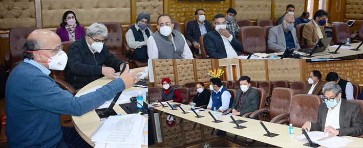 Chief Secretary BVR Subrahmanyam chairing a meeting in Jammu on Friday.