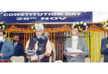 Lieutentant Governor Manoj Sinha and other dignitaries during Constitution Day function in Jammu on Thursday.