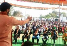 MoS, Finance Anurag Thakur addressing an election rally at Kathua on Saturday. -Excelsior/Madan