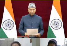 Director IIM Sirmaur and others listening to President of India as he reads Preamble of Constitution.