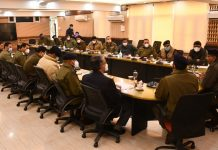 DGP chairing a meeting in Srinagar on Friday.