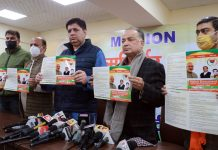 BJP leaders releasing Vision Document at Jammu on Thursday. — Excelsior/Rakesh