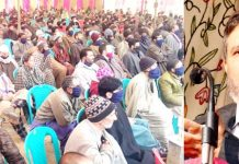 Altaf Bukhari addressing Apni Party campaign in Anantnag on Monday.