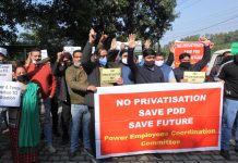 PDD employees staging protest against privatisation move of Govt in Jammu on Thursday. — Excelsior/ Rakesh