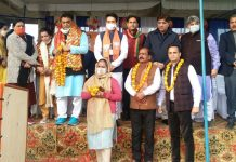 Union Minister of State, Anurag Thakur during campaigning with BJP leaders in Marh on Sunday.