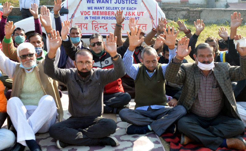 VDC members during a protest demonstration outside BJP office in Jammu on Saturday. —Excelsior/Rakesh