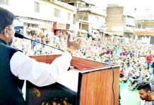 NPP leader, Harshdev Singh addressing public at Chenani on Sunday.