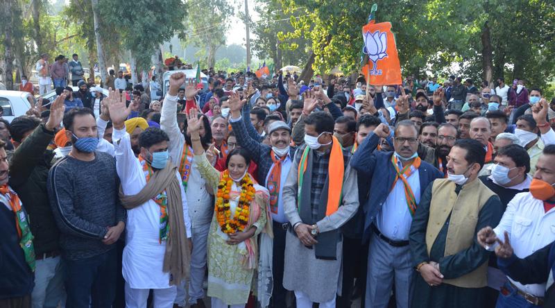 BJP leaders and MP Jugal Kishore Sharma during a rally at Phallian Mandal on Saturday.