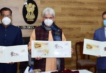 LG Manoj Sinha releasing special covers of Postal Department on Thursday.