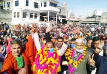 BJP J&K President, Ravinder Raina and party vice president, Sham Lal Sharma during an election rally in Sunderbani on Saturday.