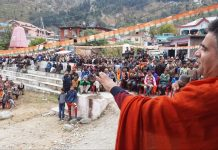 BJP J&K President Ravinder Raina addressing election rally in Basholi.