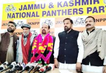 Trade Union leader Som Nath joining JKNPP in presence of senior leaders of the party.