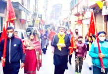 Devotees moving through Jammu city during Prabhat Pheri organised as part of Bhairav Ashtami celebrations.