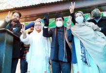 Senior BJP leaders Syed Shahnawaz Hussain, Dr Darakhshan Andrabi and Sofi Yousuf during a public rally in Anantnag.