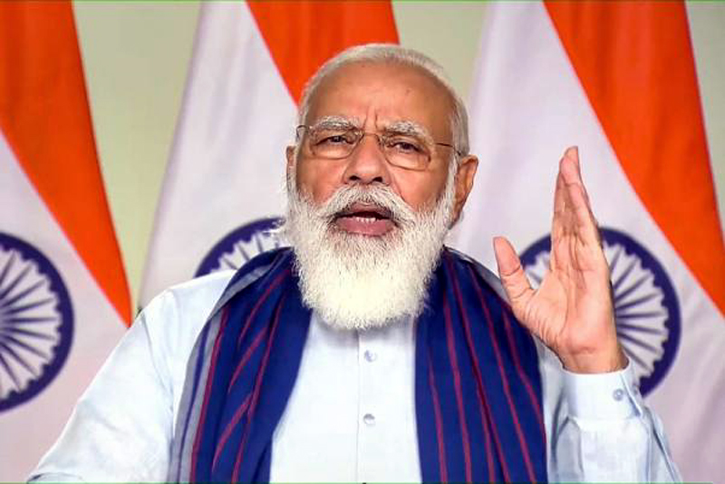 Prime Minister Narendra Modi speaking after laying the foundation stone of 23 rural piped drinking water projects of Mirzapur and Sonbhadra districts of Vindhya region of Uttar Pradesh under the 'Jal Jeevan' Mission via video conferencing.