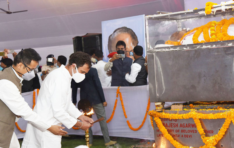 Congress MP Rahul Gandhi paying homage to former Assam Chief Minister and senior Copngress leader Tarun Gogoi, in Guwahati on Wednesday. (UNI)