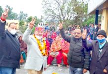 NC Provincial President Devender Singh Rana during a public meeting in Nagrota constituency.
