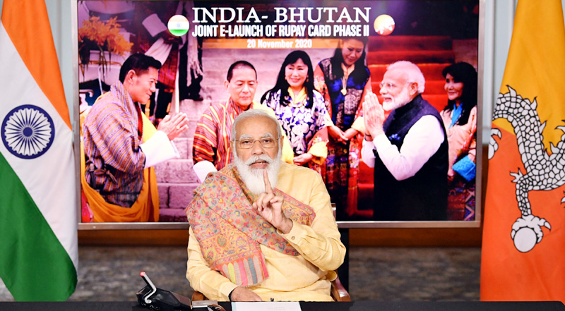 Prime Minister, Narendra Modi addressing at the launch of the RuPay card phase-II in Bhutan, in a virtual ceremony, in New Delhi on Friday.