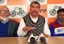 Provincial JKNPP president, Rajesh Padgotra addressing a press conference at Jammu on Sunday.