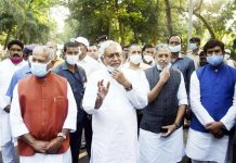 Bihar Chief Minister and Janata Dal (United) President Nitish Kumar with Deputy CM Sushil Kumar Modi, BJP state President Sanjay Jaishwal and others after a meeting, in Patna.