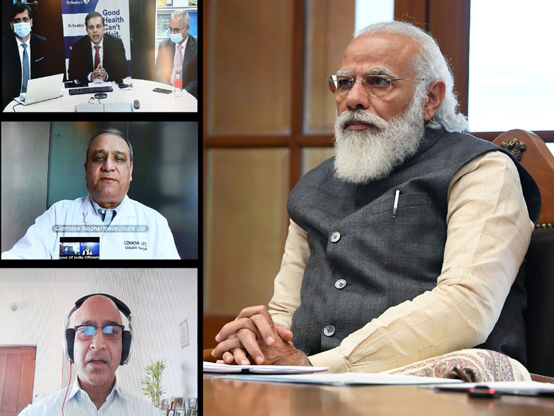 Prime Minister, Narendra Modi holding virtual meetings with three teams working on developing & manufacturing vaccine for COVID-19, in New Delhi on Monday.