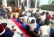 PCC vice president Mula Ram addressing gathering in Marh on Sunday.