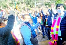 Senior BJP leader Vikram Randhawa during election campaign for party candidate in district Udhampur.