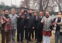 BJP leader and former Deputy CM Kavinder Gupta and others while intensifying DDC polls campaign at Srinagar.