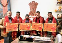 Team Jammu chairman Zorawar Singh Jamwal and others releasing a Dogri Bhajan album in Jammu.