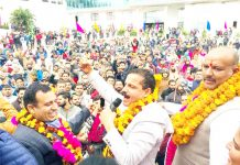 Balwant Singh Mankotia addressing supporters at Udhampur on Tuesday.