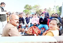 J&K BJP Vice President Yudhvir Sethi during a meeting at Nagri area of Kathua district.