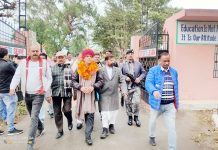 DSSP chairman, Ch. Lal Singh accompanying his party candidate, Mohan Singh of Khrote to file nomination papers in Kathua.