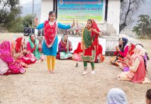 Artists performing during five day workshop of traditional folk art forms in Reasi.