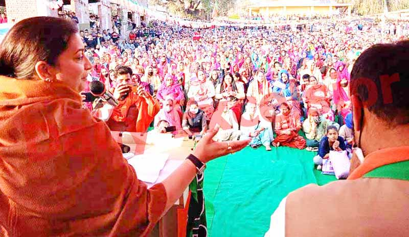 Union Minister Smriti Irani addressing an election rally at Ghagwal on Saturday. -Excelsior/ Badyal